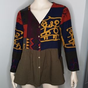 Asian Inspired Button Front V-neck Ruffle Blouse